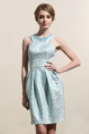 Jewel Sleeveless Satin Beading Short Blue Formal Dress- AU$ 277.21 – DressesMallAU.com