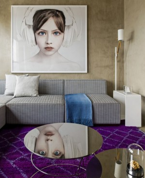 Loft Interior Design in Beige and Purple – InteriorZine