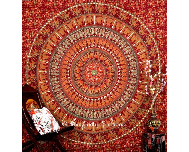Mandala Elepahnt Design Boho Tapestry