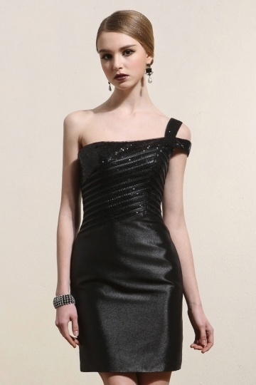 One Shoulder Sequins Satin Little Black Dress- AU$ 229.38 – DressesMallAU.com