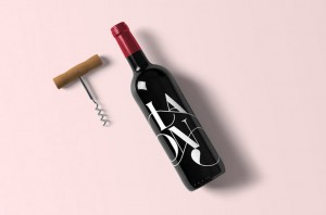 Realistic Wine Bottle Mockup with Corkscrew