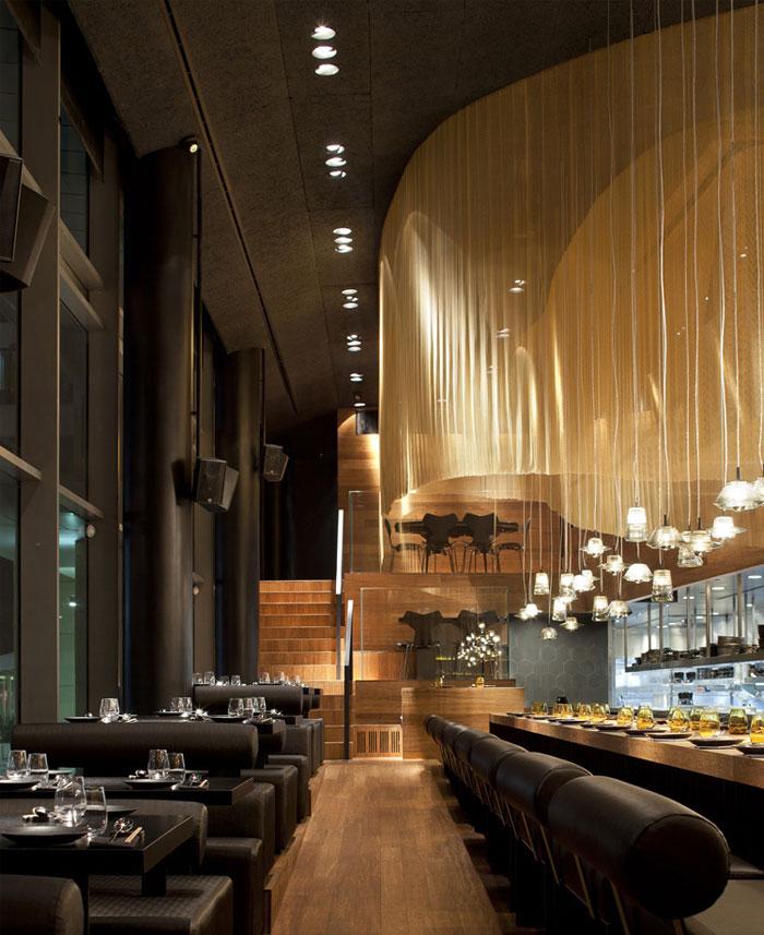 Restaurant Interior Decorating in Golden Color Scheme – InteriorZine