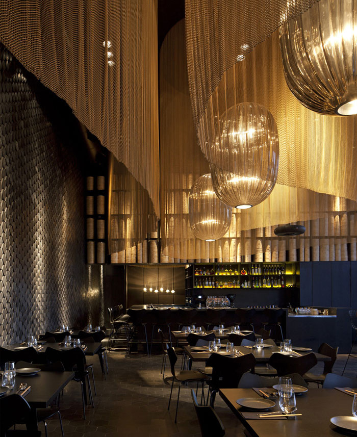 Restaurant Interior Decorating in Golden Color Scheme – InteriorZine