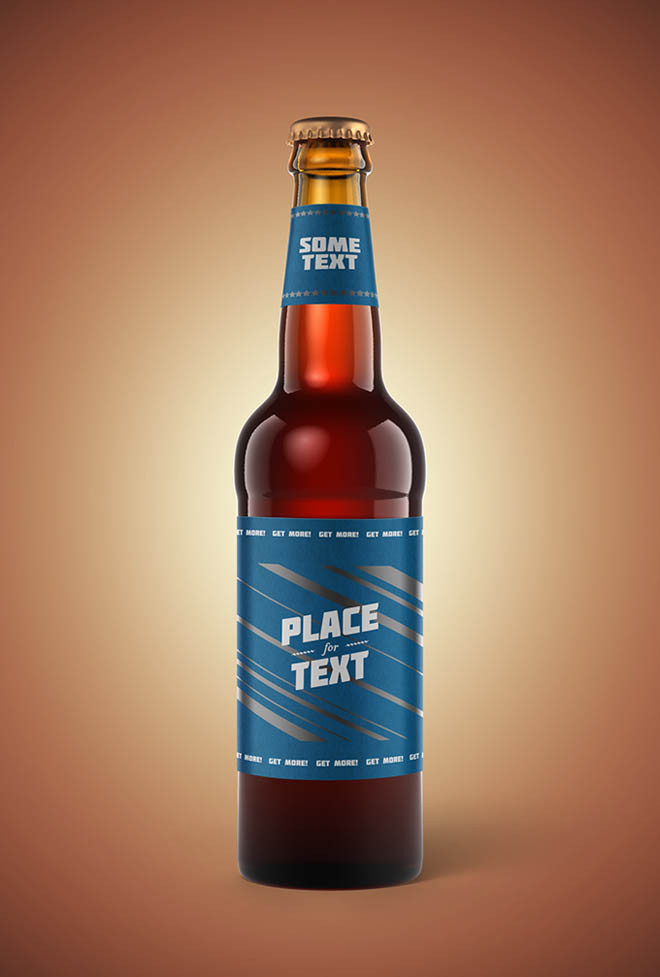 Retro Beer Bottle Mockup PSD