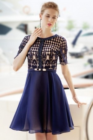 Scoop Short Sleeves Lace A-line Blue Cocktail Dress- AU$ 429.40 – DressesMallAU.com