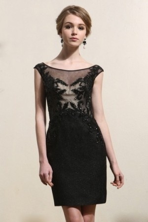 Sheath Cap Sleeves Lace Black Cocktail Gown- AU$ 316.35 – DressesMallAU.com