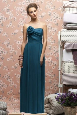 Strapless Ruching Flower Floor Length Green Bridesmaid Dress- AU$ 173.94 – DressesMallAU.com