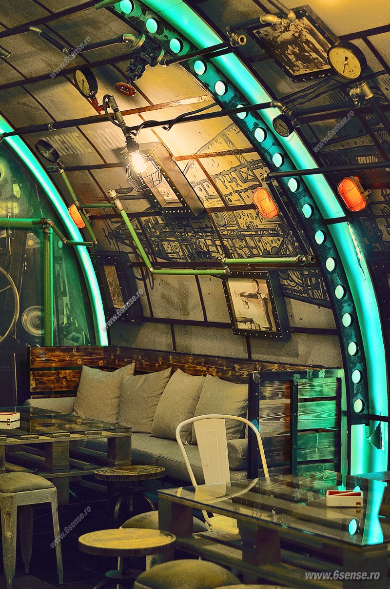 Submarine Pub Designed in Industrial Style with Steampunk Features