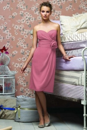 Sweetheart Chiffon Flower Knee Length Pink Bridesmaid Dress- AU$ 163.06 – DressesMallAU.com