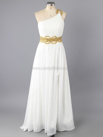 A-line Chiffon One Shoulder Floor-length Ruffles Prom Dresses