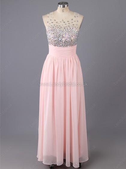 A-line Chiffon Scoop Neck Floor-length Beading Prom Dresses