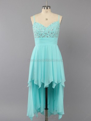 A-line Chiffon V-neck Asymmetrical Beading Prom Dresses