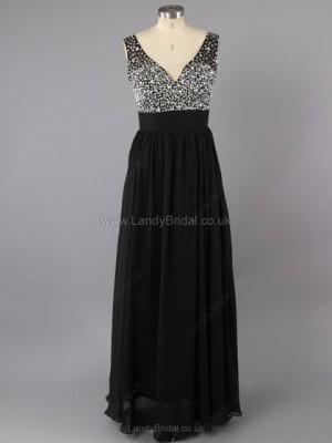 A-line Chiffon V-neck Floor-length Beading Prom Dresses