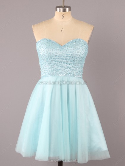 A-line Satin Tulle Sweetheart Short/Mini Pearl Detailing Prom Dresses