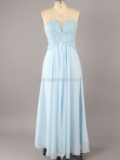 Empire Chiffon Sweetheart Floor-length Appliques Lace Prom Dresses