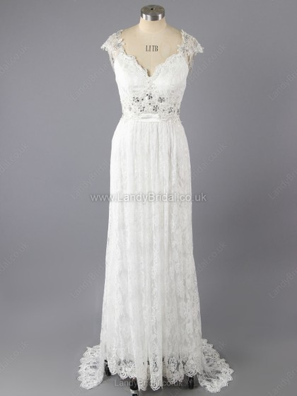 Empire Lace V-neck Sweep Train Beading Wedding Dresses
