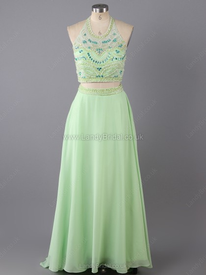 Princess Satin Organza Scoop Neck Sweep Train Rhinestone Prom Dresses