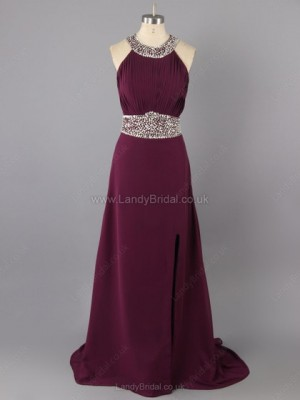 Sheath/Column Chiffon Scoop Neck Floor-length Beading Prom Dresses