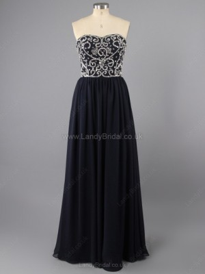 Sheath/Column Chiffon Sweetheart Floor-length Beading Prom Dresses