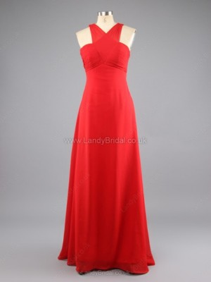 Sheath/Column Chiffon V-neck Floor-length Pleats Prom Dresses