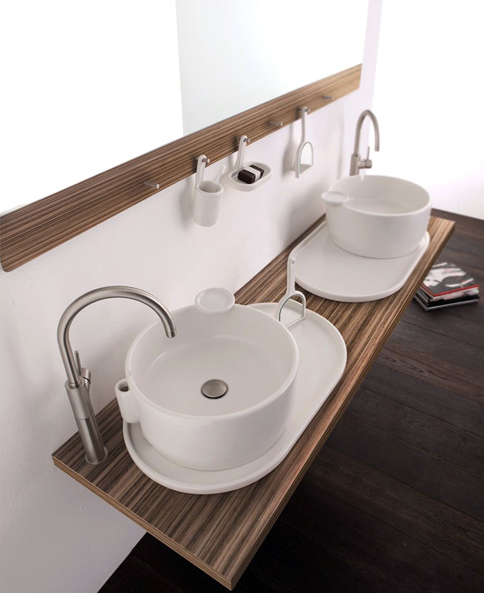 Wall Mounted Double Washbasin Cabinet Ukiyo-e – InteriorZine