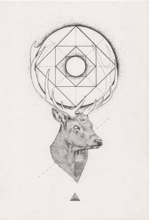 Tattoo Inspiration – (Geometric) Stag. A Peter Carrington illustration.