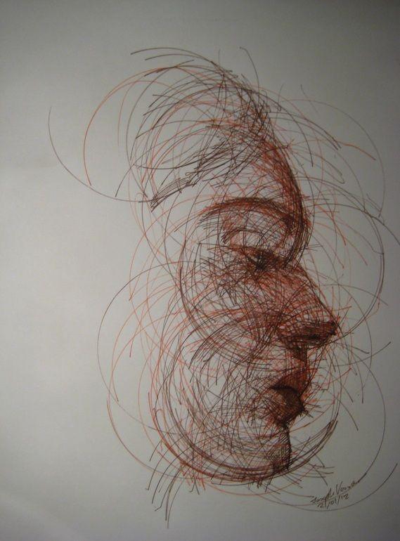 "Artist: Joseph Vassie; Pen and Ink 2012 Drawing ""Circular Portit ra2"" | Pen And Ink, ..."