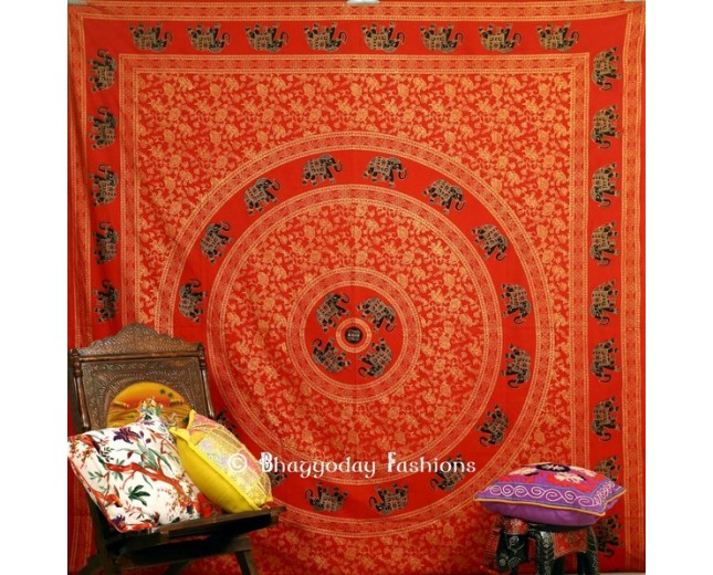 Red Indian Boho Mandala Tapestry