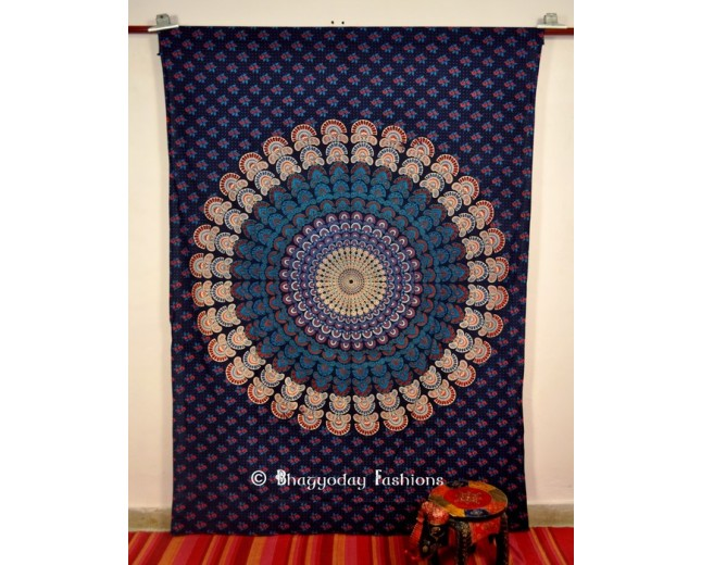 Blue  Mandala Hippie Wall Hanging Indian Tapestry