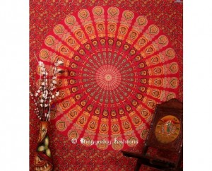 Red Round Mor Pankh Boho Tapestry