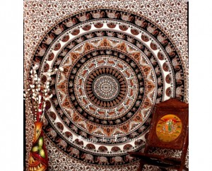 White Indian Round bohemian  Tapestry