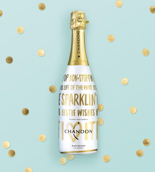 Chandon Holiday #BestieWishes champagne circle design packaging design