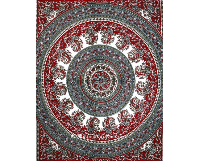 Boho Beach Tapestry in Maroon and Grey