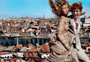 Gigi Hadid and Domhnall Gleeson by Mario Testino