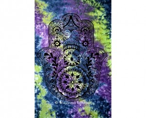 Gray and Green Fatima Hand Tie Dye Tapestry
