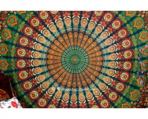 Indian Mandala Tapestry in Peacock Print