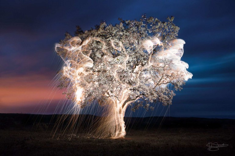 Long Exposure Light Painting Landscapes with Fireworks
