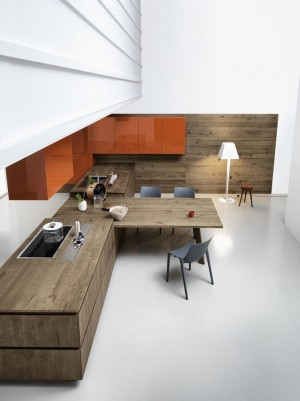 Oak fitted kitchen without handles CLOE – COMPOSITION 3 by Cesar Arredamenti design Gian V ...
