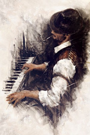 Portrait Paintings by Rémi LaBarre | Night, Piano and The Piano