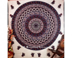 Blue and White Hippie Tapestry Bedding