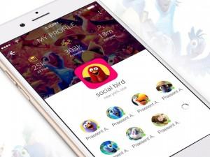 Social Bird : Free iOS App UI PSD