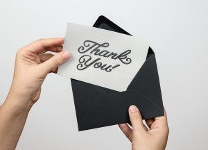 """Thank You"" hand drawn typography card by Jenna Bresnahan"