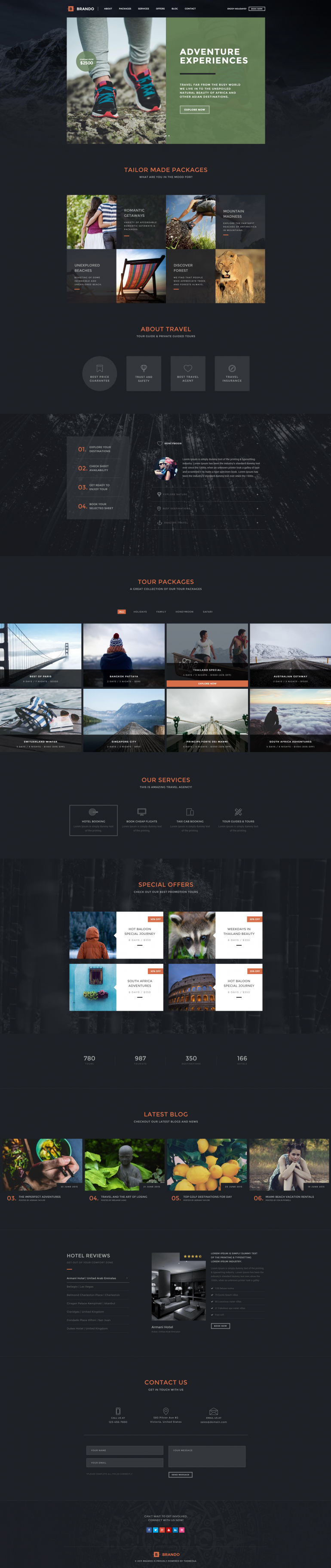 Brando Travel OnePage WordPress Theme