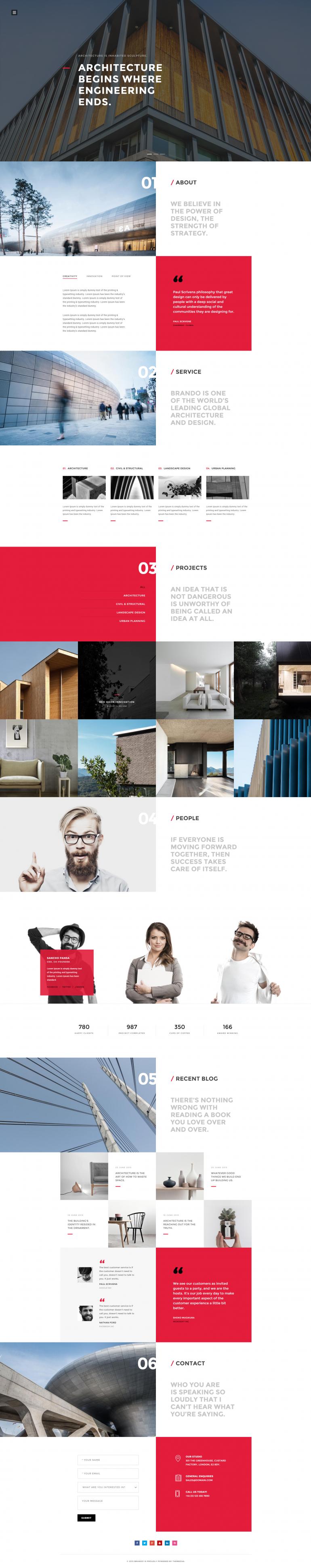 Brando Architecture OnePage WordPress Theme