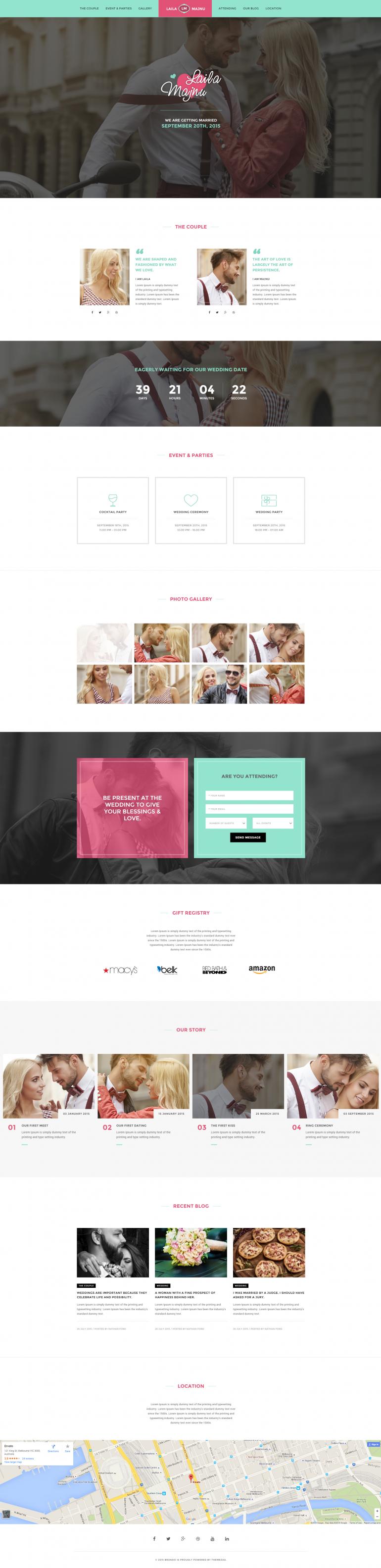 Brando Wedding OnePage WordPress Theme