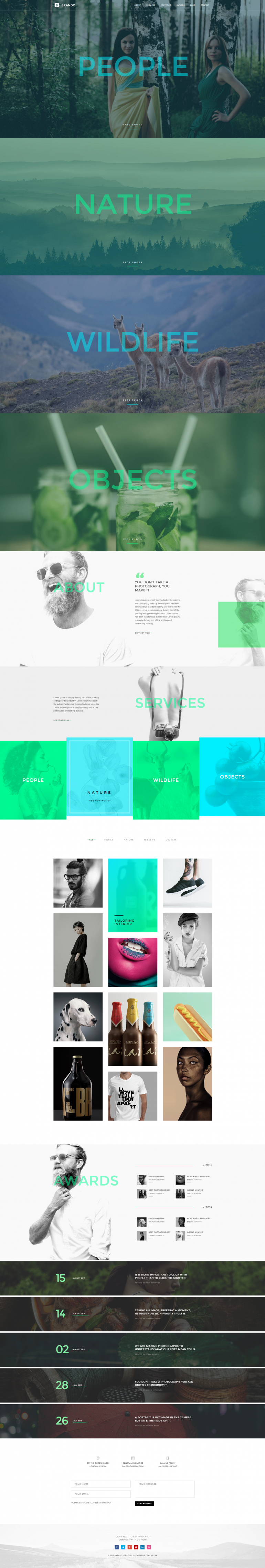 Brando Photography OnePage WordPress Theme