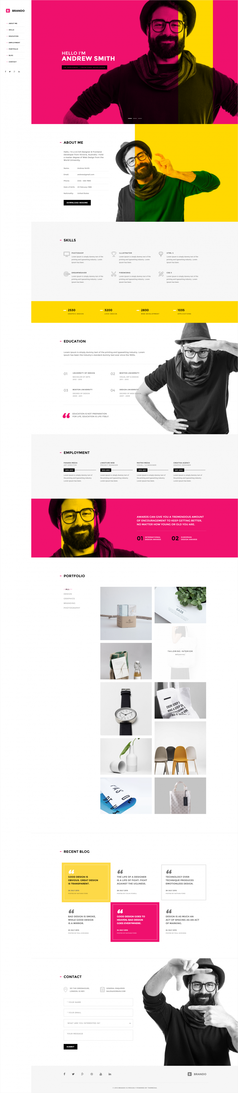 Brando Personal Resume OnePage WordPress Theme