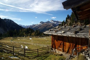 Alpine shelter along the Tramin Alm in Sarntal, Italy.
