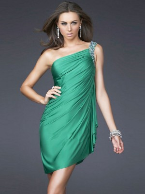 Chic Sheath/Column One-shoulder Sleeveless Natural short cocktail dresses -wepromdresses.com