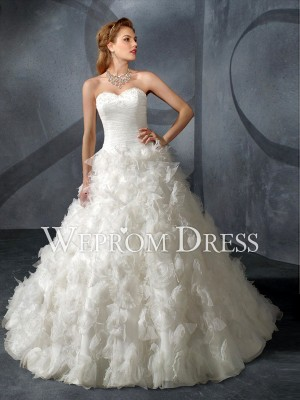 Girls Button Ruffles Train Sweetheart Strapless White A-Line A-Line Wedding Dresses -wepromdress ...